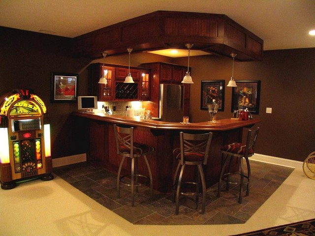 Kitchen and bars traditional basement indianapolis Residential bar design ideas