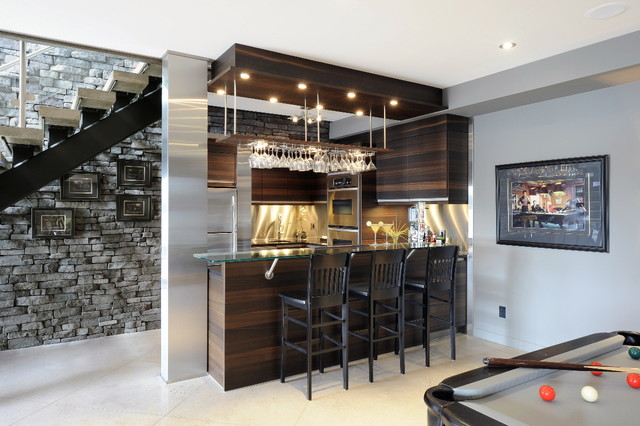 basement wet bar under stairs. Example of a trendy ceramic floor and white basement design in Ottawa  with gray walls Wet Bar Under Stairs Houzz