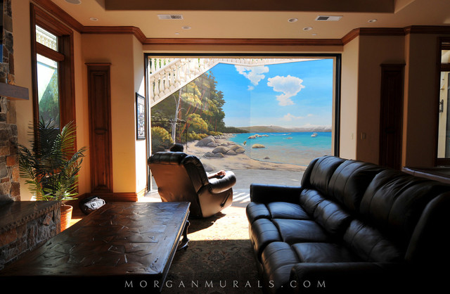 Lake Tahoe Wall Mural Contemporary Basement San