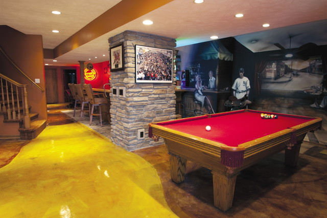 Lakehouse remodel modern basement omaha by t hurt Lakehouse construction