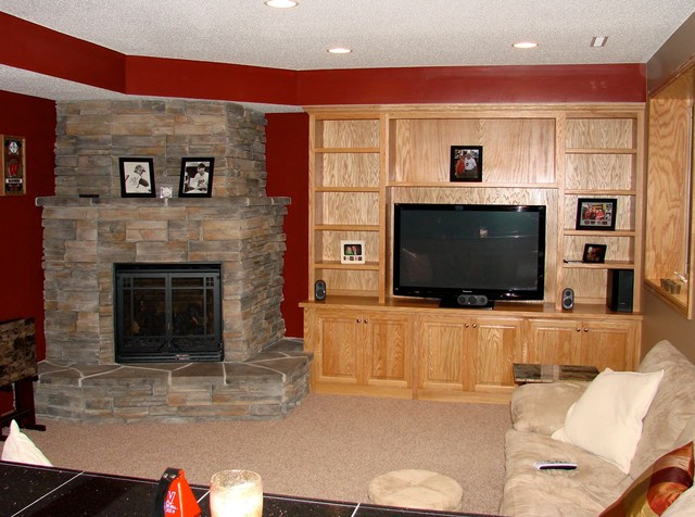 Lakeville Basement Project - Stone Fireplace - Modern - Basement ...