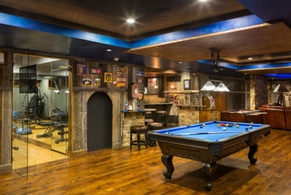 Leawood Lower Level - Rustic - Basement - kansas city - by CHC Creative Remodeling