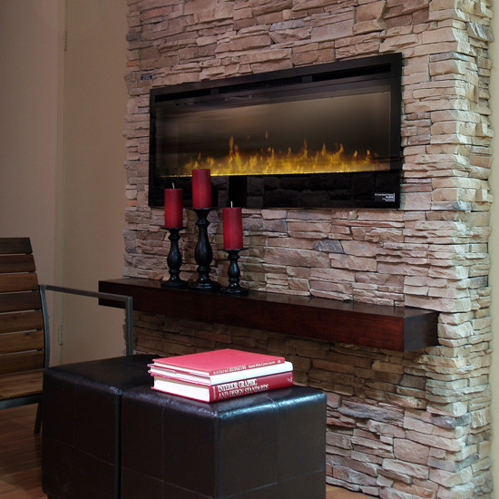 Ledge stone veneer interior fireplaces contemporary basement other by stone selex for Interior fireplace stone veneer