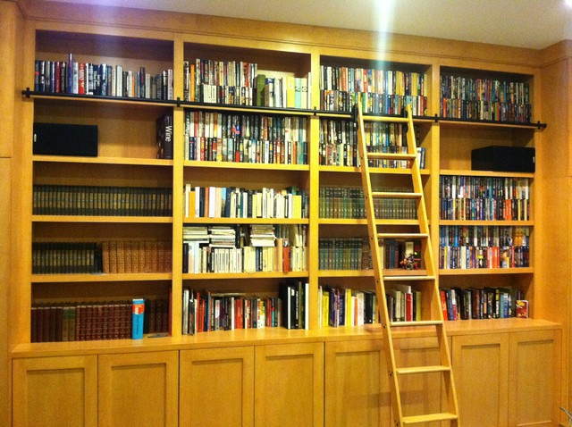 Library Cabinets with Rolling Library Ladder - Modern - Basement - chicago - by Best Cabinets