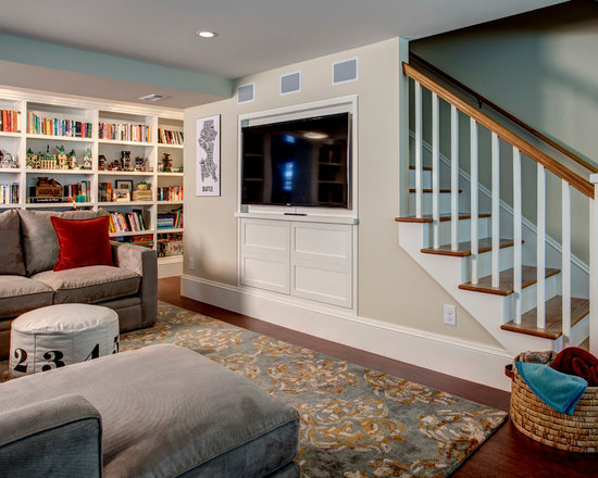 White built in bookcases basement design ideas pictures for Finished walkout basement ideas