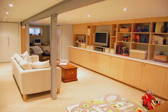 lisa 39 s bright cozy basement reno modern basement toronto