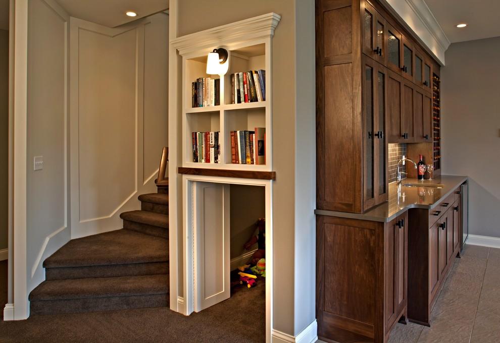Example of a minimalist basement design in Minneapolis