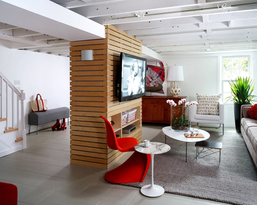 Example of a trendy look-out gray floor basement design in DC Metro with white walls and no fireplace