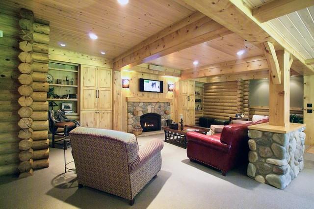 log cabin basement remodel traditional basement