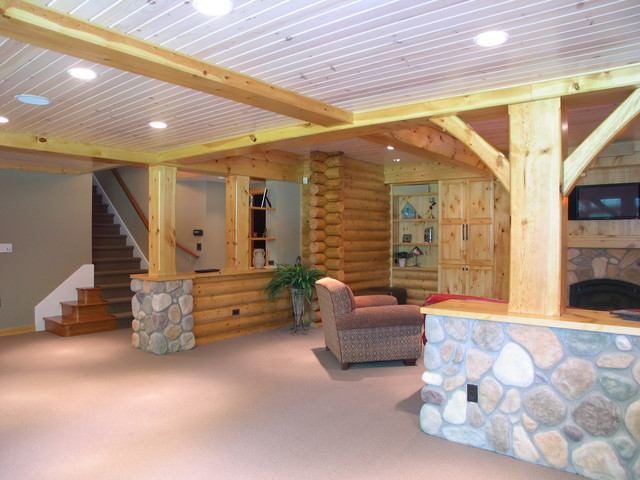Log cabin basement remodel for Log cabin house plans with basement