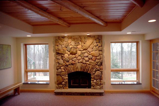 Log Cabin Residence Additions Rustic Basement