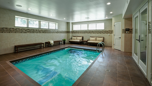 Long grove il home addition and lower level traditional for Basement swimming pool ideas