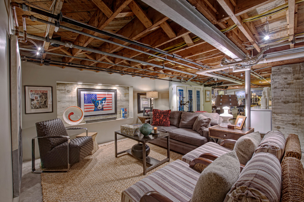 Basement - large eclectic walk-out concrete floor basement idea in Other with beige walls and no fireplace