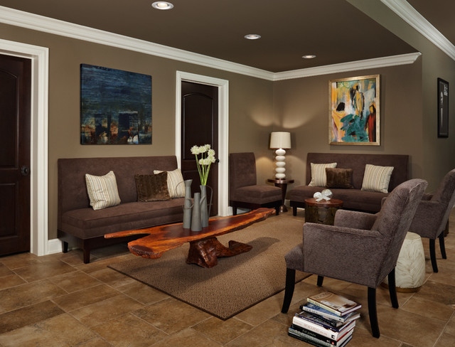 Lounge Seating Contemporary Basement Detroit By