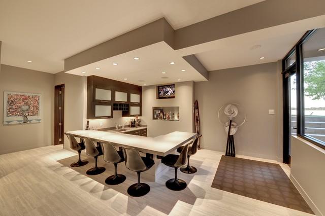 Low level entertaining space contemporary-basement