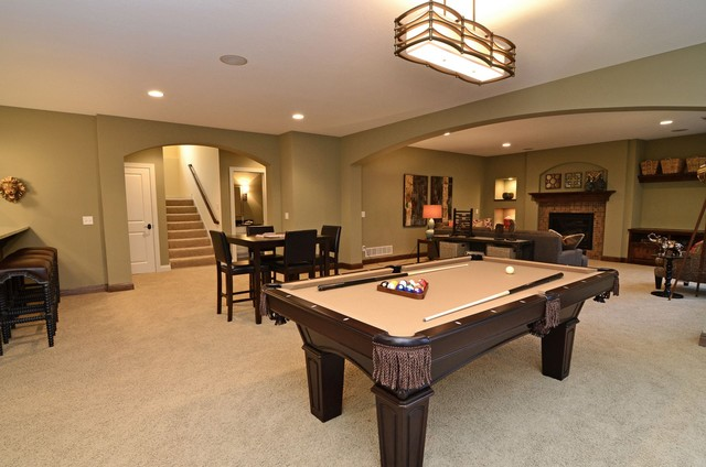 lower level entertainment area traditional basement