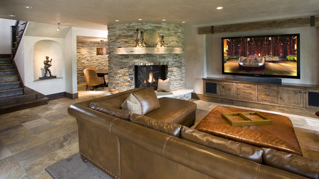 Lower Level Family Room rustic-basement