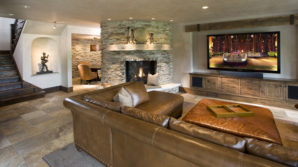 Lower Level Family Room Rustic