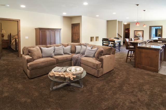 Lower level family room with wet bar traditional for Dark brown carpet living room