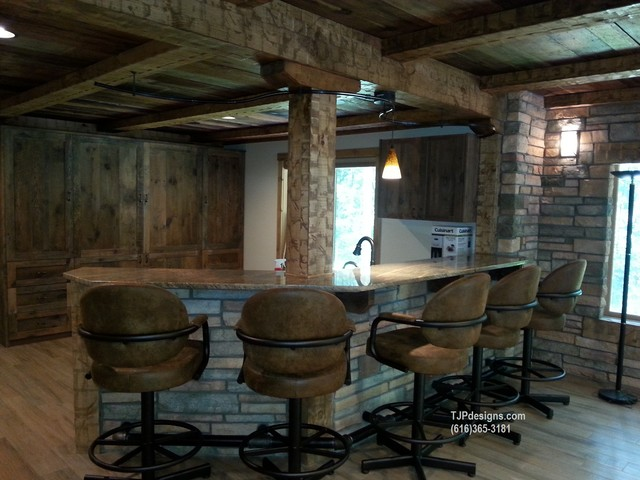 Lower level finish with european flavor rustic for Rustic finished basement