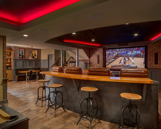 sports bar basement design ideas pictures remodel and decor. Black Bedroom Furniture Sets. Home Design Ideas