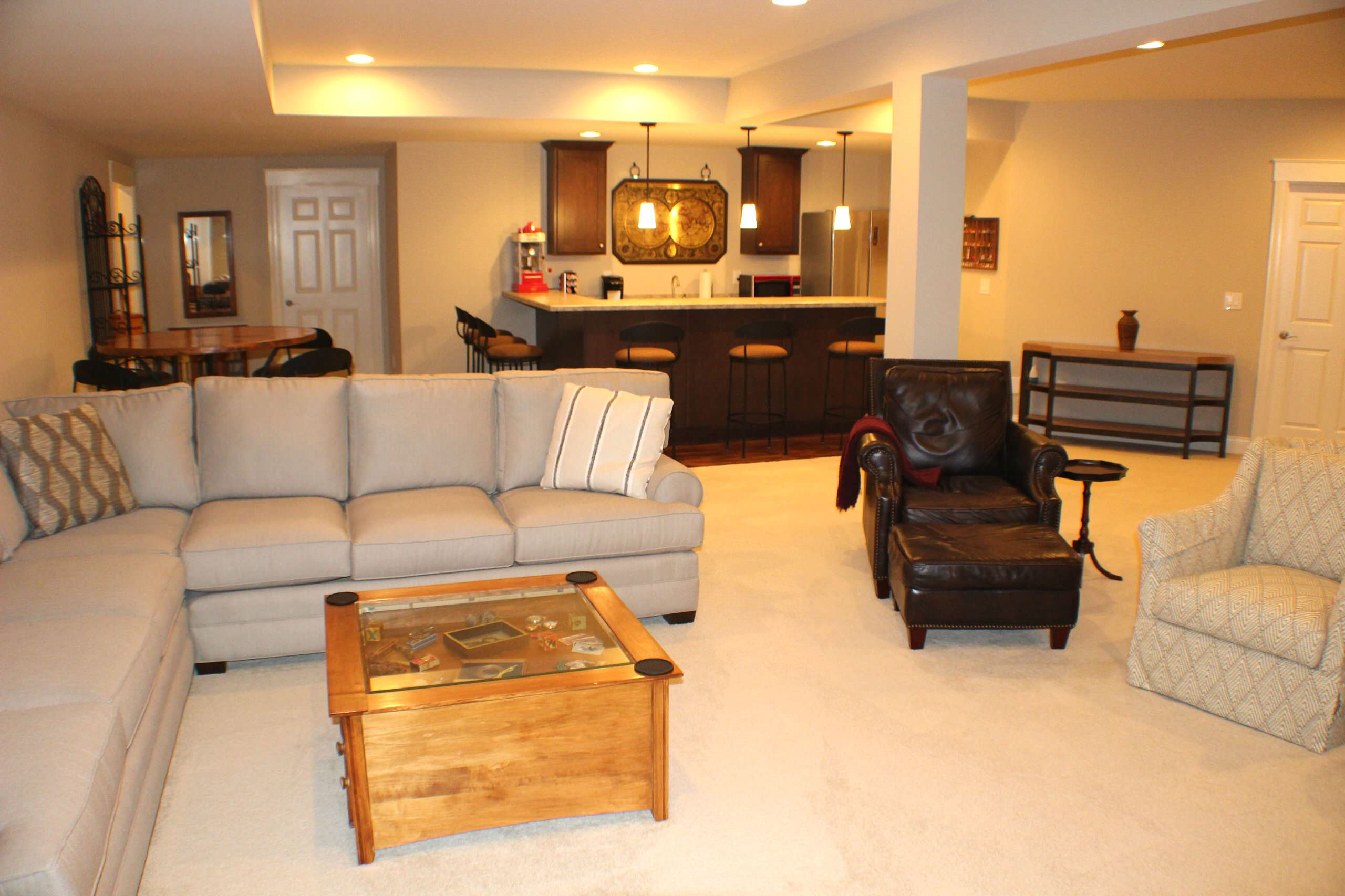 Lower Level Guest Kitchen and Lounge Area