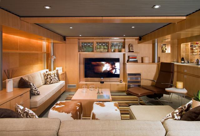 Low Ceiling Basement Remodeling Ideas lower level living - midcentury - basement - philadelphia -