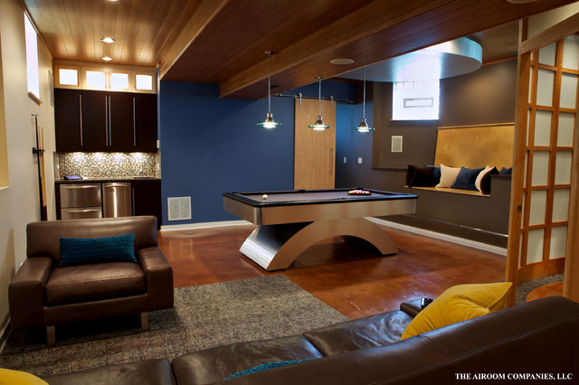 Lower Level Living Space In Chicago Contemporary Basement