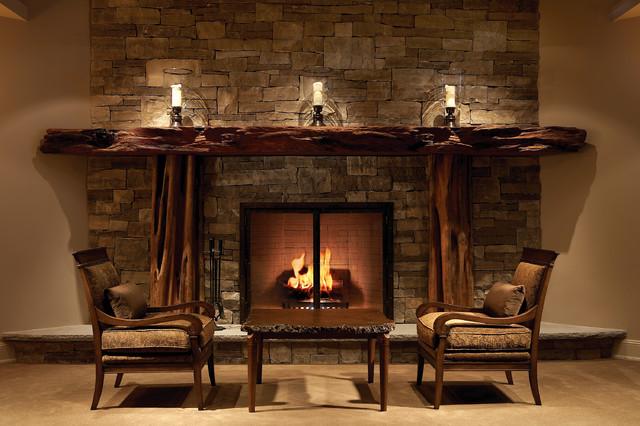 Lower Level Sitting Area rustic-basement