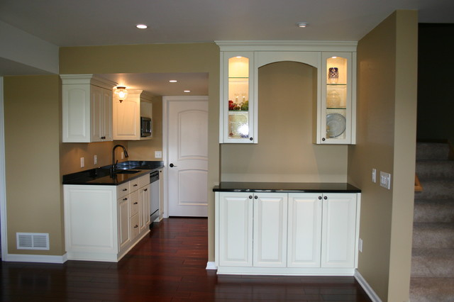 Lower level wet bar traditional basement other metro by modern design cabinetry - Modern wet bar ideas ...