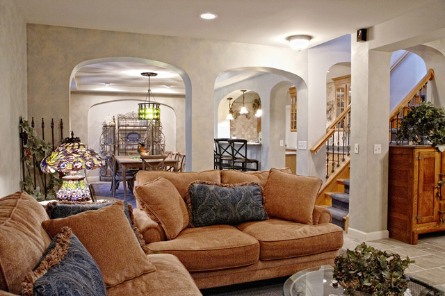 mediterranean basement by M.J. Whelan Construction