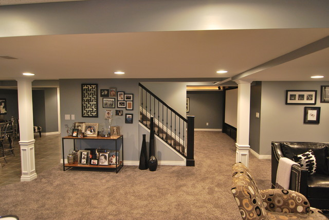 Macomb twp basement contemporary basement detroit by plan 2 finish inc - Finish basement design ...