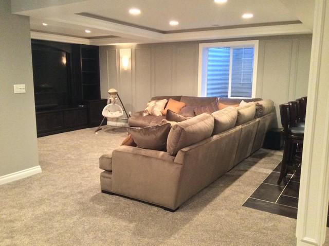 Macomb twp finished basement modern basement detroit for Modern finished basements