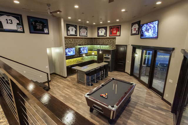 Man Cave Contemporary Basement Salt Lake City By Kristen Brooksby Interior Design