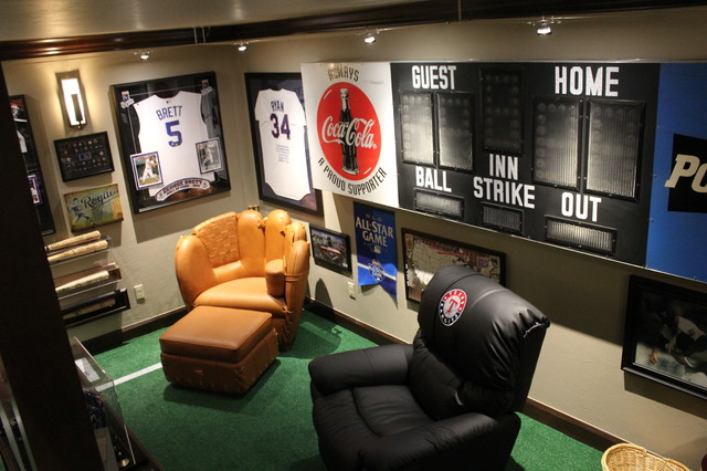 Man Cave With Scoreboard And Baseball Furniture Eclectic Basement