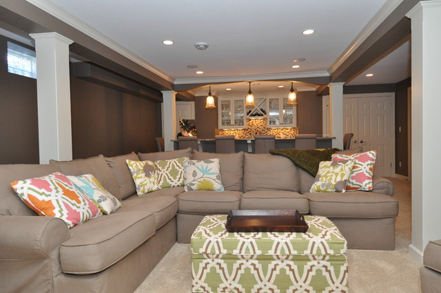 Mary Best Designs modern basement