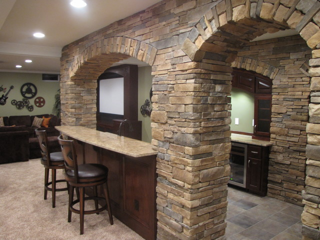 Kitchen Bar With Stacked Rock Archways