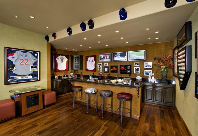 basement sports memorabilia bar interior eclectic concept room decor sport rooms vm studio decorators designers