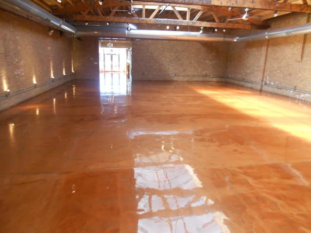 metallic epoxy floor modern basement