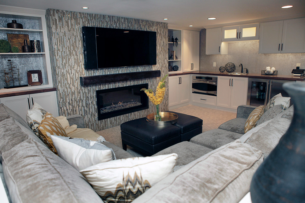 Example of a minimalist basement design in Other