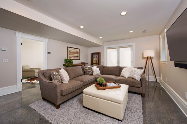 Milton wi farmhouse remodel country basement for Country basement ideas