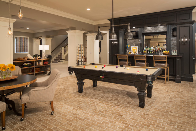 Inspiration for a transitional look-out brick floor and beige floor basement remodel in Minneapolis with gray walls and no fireplace