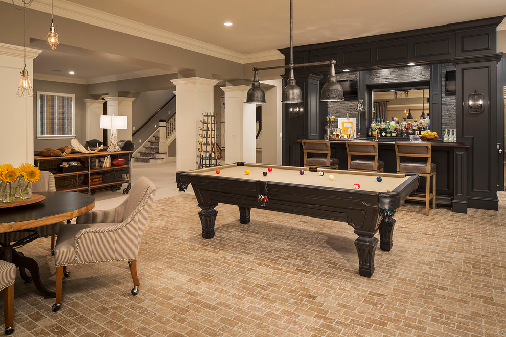 Inspiration for a transitional look-out brick floor and beige floor basement game room remodel in Minneapolis with gray walls and no fireplace