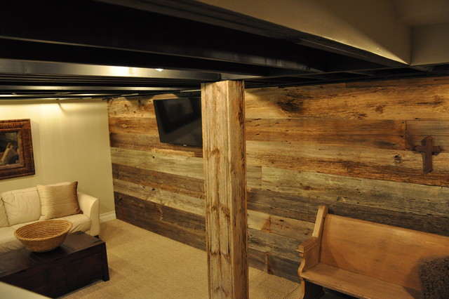 Modern And Rustic Basement Chicago By