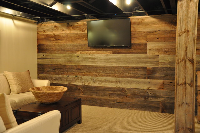 Modern And Rustic Rustic Basement Chicago By Reclaimed Wood Chicago