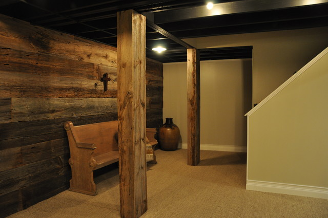 Houzz Basement Ceiling Ideas   Modern And Rustic Rustic Basement Chicago By