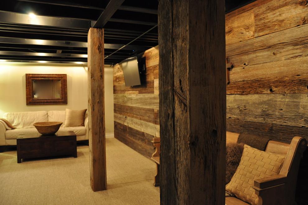 Basement - rustic beige floor basement idea in Chicago