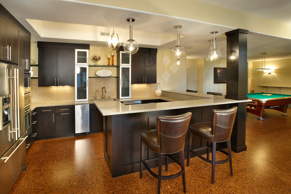 Inspiration for a transitional underground brown floor basement remodel in St Louis with beige walls
