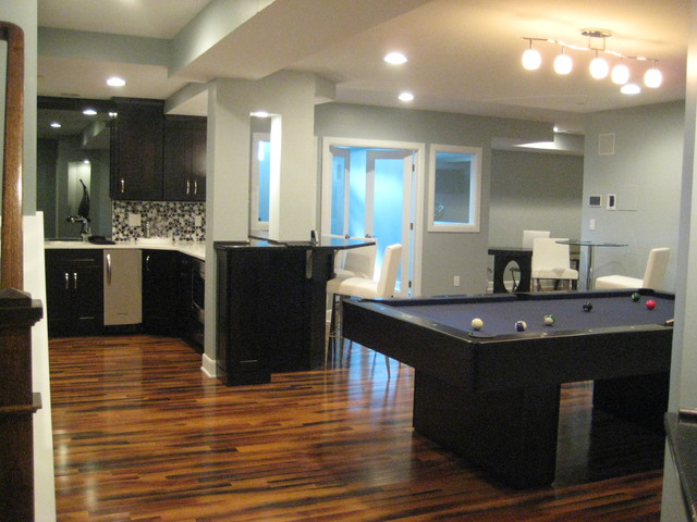 Full Finished Modern Basement With Pool Table Wet Bar