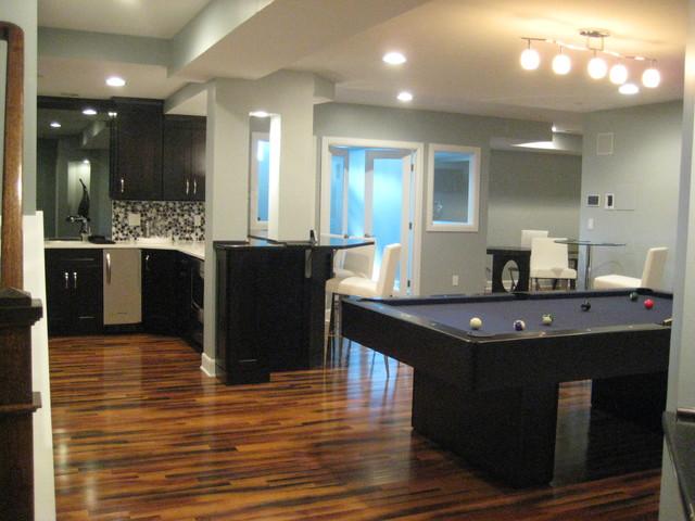 modern basement. Black Bedroom Furniture Sets. Home Design Ideas